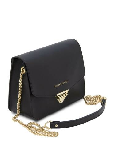 Tuscany Leather TL Bag - Pochette in pelle Saffiano con tracolla a catena Nero - TL141954/2