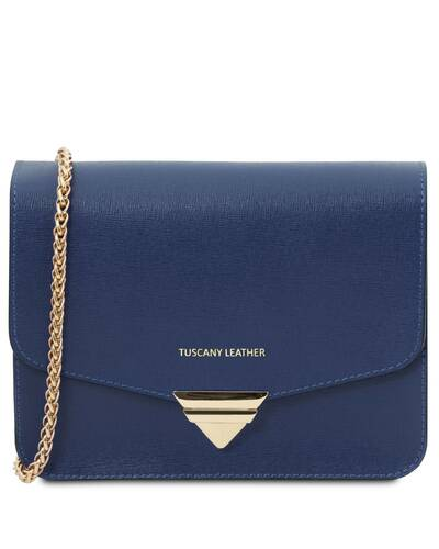 Tuscany Leather TL Bag - Pochette in pelle Saffiano con tracolla a catena Blu Scuro - TL141954/107