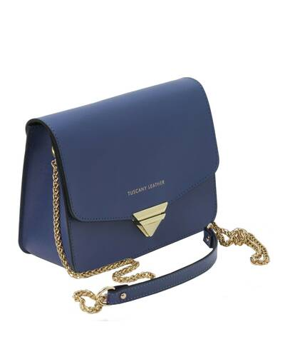 Tuscany Leather TL Bag - Saffiano leather clutch with chain strap Dark Blue - TL141954/107