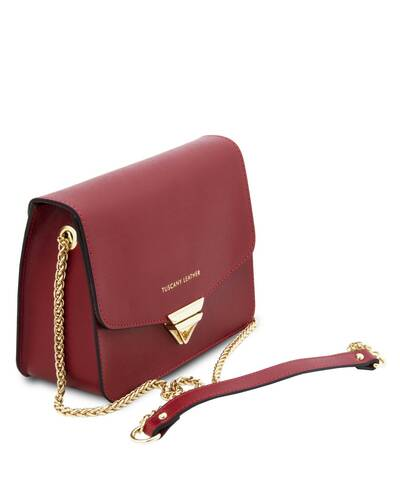 Tuscany Leather TL Bag - Pochette in pelle Saffiano con tracolla a catena Rosso - TL141954/4