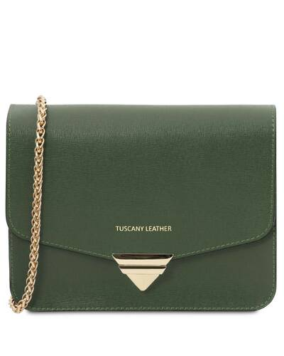 Tuscany Leather TL Bag - Saffiano leather clutch with chain strap Forest Green - TL141954/62