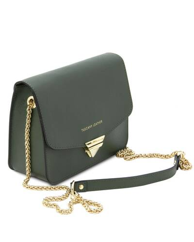 Tuscany Leather TL Bag - Pochette in pelle Saffiano con tracolla a catena Verde Foresta - TL141954/62