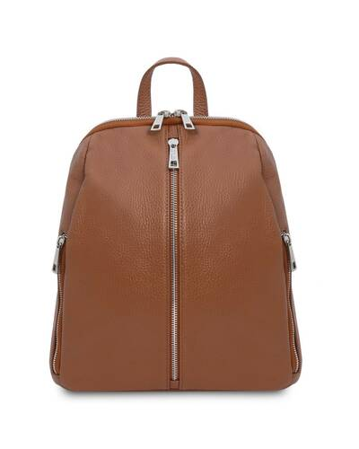 Tuscany Leather TL Bag - Soft leather backpack for women Cognac - TL141982/6