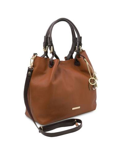 Tuscany Leather TL KeyLuck - Soft leather shopping bag Cognac - TL141940/6