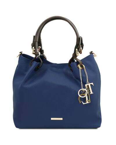 Tuscany Leather TL KeyLuck - Soft leather shopping bag Dark Blue - TL141940/107