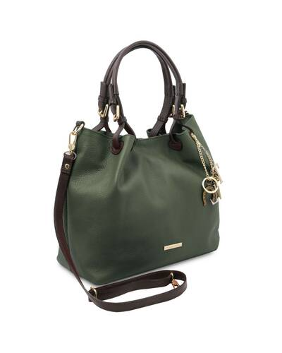 Tuscany Leather TL KeyLuck - Soft leather shopping bag Forest Green - TL141940/62
