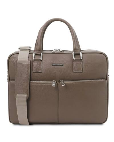 Tuscany Leather - Treviso - Leather laptop briefcase Dark Taupe - TL141986/97