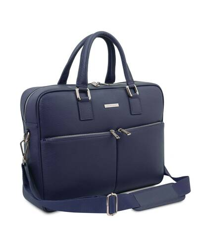 Tuscany Leather - Treviso - Leather laptop briefcase Dark Blue - TL141986/107