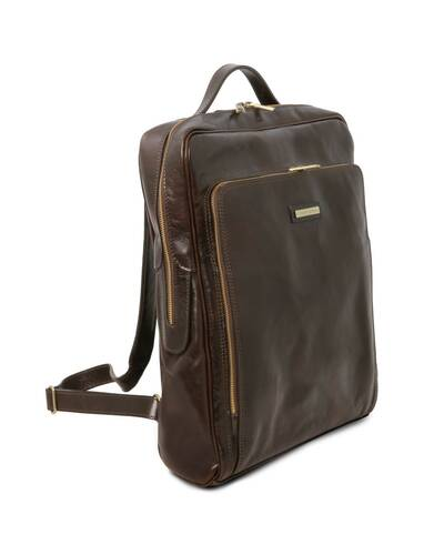 Tuscany Leather Bangkok Leather laptop backpack - Large size, Dark Brown - TL141987/5
