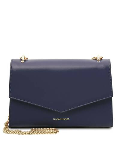 Tuscany Leather Fortuna - Pochette in pelle con tracolla a catena Blu Scuro - TL141944/107