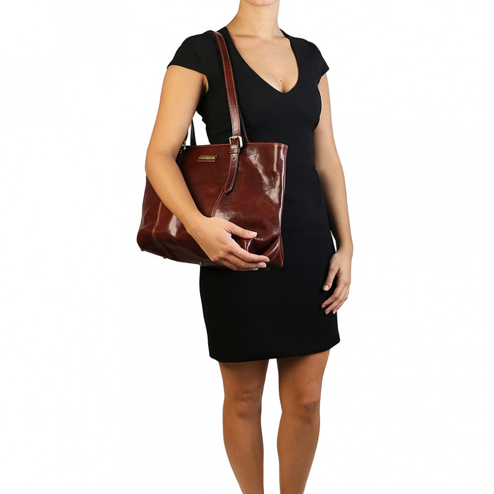 Tuscany Leather Annalisa Borsa shopping in pelle con due manici Miele - TL141710/3