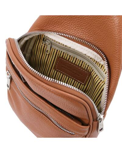 Tuscany Leather ALBERT Soft leather crossover bag Cognac - TL142022/6