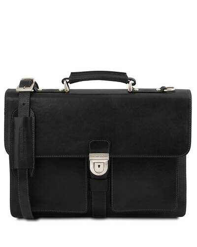 Tuscany Leather Assisi Leather briefcase 3 compartments Black - TL141825/2
