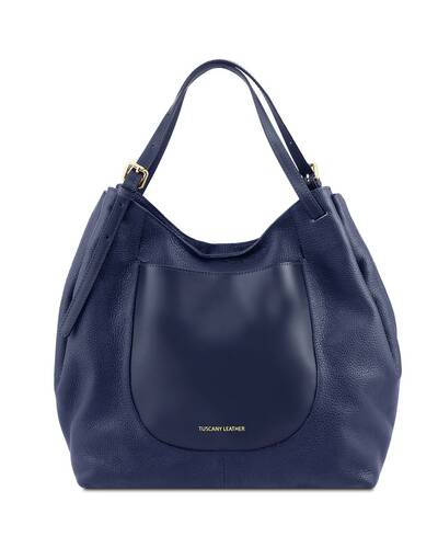 Tuscany Leather Cinzia Soft leather shopping bag Dark Blue - TL141515/107