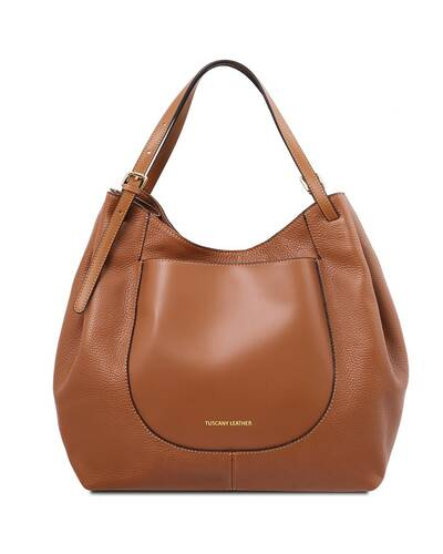 Tuscany Leather Cinzia Borsa shopping in pelle morbida Cognac - TL141515/6