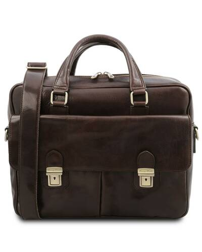 Tuscany Leather San Miniato Leather multi compartment laptop briefcase, Dark Brown - TL142026/5