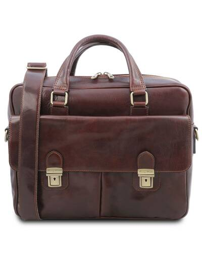 Tuscany Leather San Miniato Leather multi compartment laptop briefcase, Brown - TL142026/1