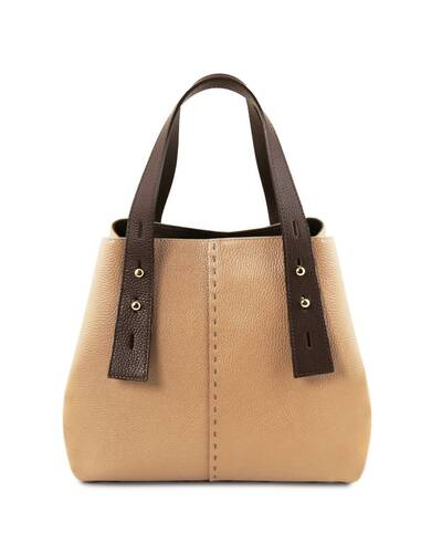 Tuscany Leather TLBag Borsa shopping in pelle Champagne - TL141730/126