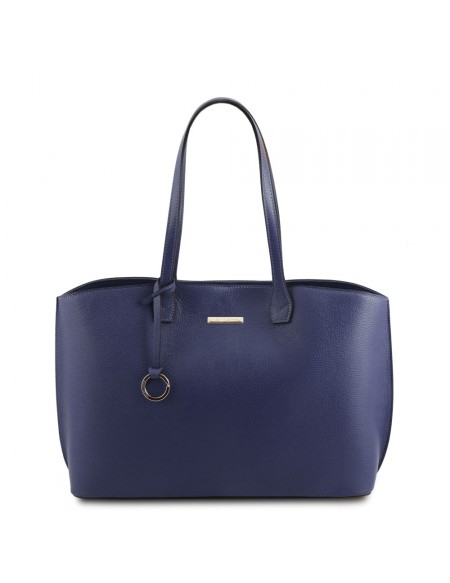 Tuscany Leather TL Bag - Borsa shopping in pelle morbida Blu - TL141828/77