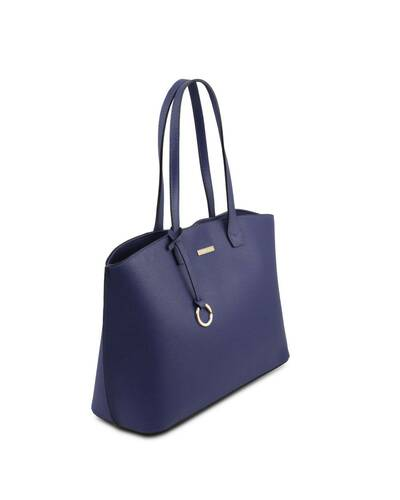 Tuscany Leather TL Bag - Soft leather shopping bag Blue - TL141828/77
