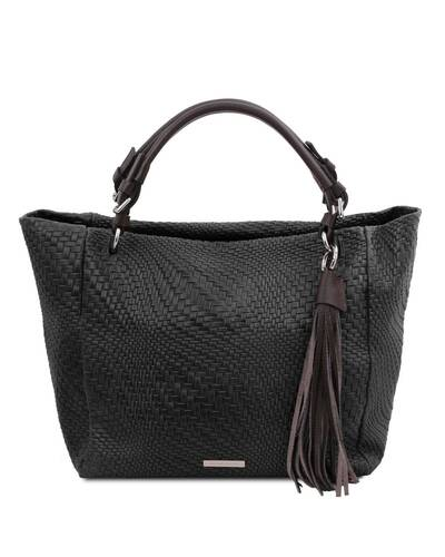 Tuscany Leather TL Bag - Woven printed leather shopping bag Black - TL142066/2
