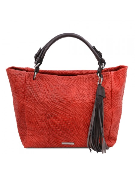 Tuscany Leather TL Bag - Woven printed leather shopping bag Lipstick Red - TL142066/120