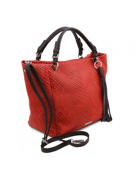 Tuscany Leather TL Bag - Borsa shopping in pelle stampa intrecciata Rosso Lipstick - TL142066/120