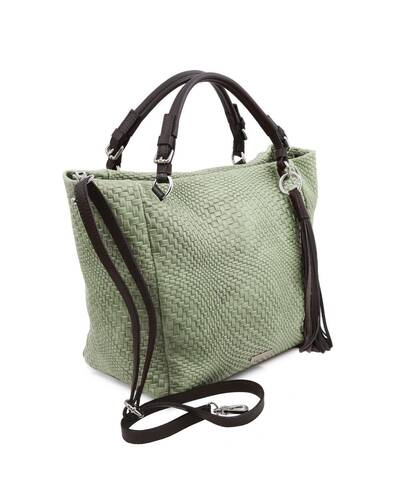 Tuscany Leather TL Bag - Borsa shopping in pelle stampa intrecciata Verde Menta - TL142066/130