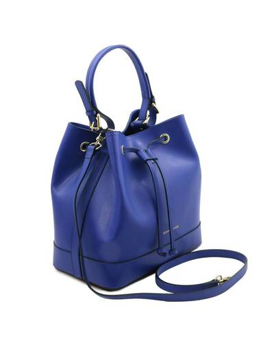 Tuscany Leather Minerva - Borsa secchiello da donna in pelle Blu - TL142050/77