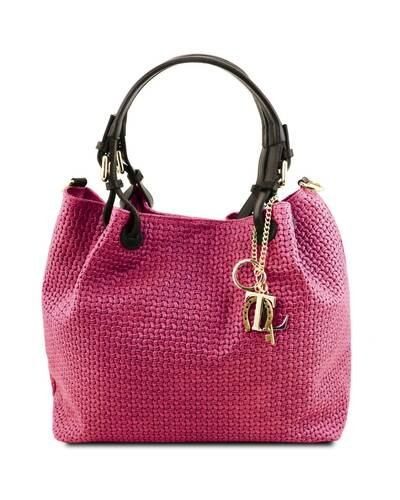 Tuscany Leather TL KeyLuck - Woven printed leather shopping bag Fucsia - TL141573/75