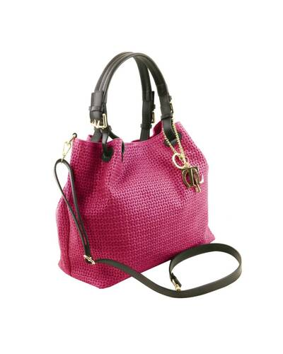 Tuscany Leather TL KeyLuck - Borsa shopping in pelle stampa intrecciata Fucsia - TL141573/75