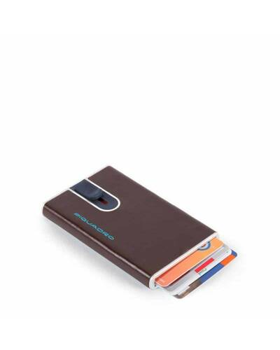 Piquadro Blue Credit card case with sliding system and RFID anti-fraud protection, Mahogany - PP4825B2R/MO