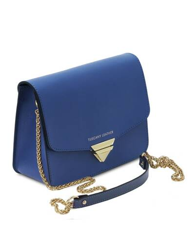 Tuscany Leather TL Bag - Pochette in pelle Saffiano con tracolla a catena Blu - TL141954/77