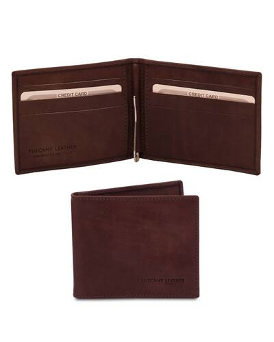 Tuscany Leather Exclusive leathTuscany Leather Exclusive leather card holder with money clip Dark Brown - TL142055/5