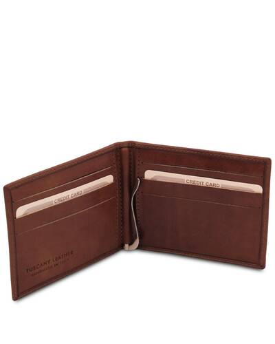 Tuscany Leather Exclusive leather card holder with money clip Brown - TL142055/1
