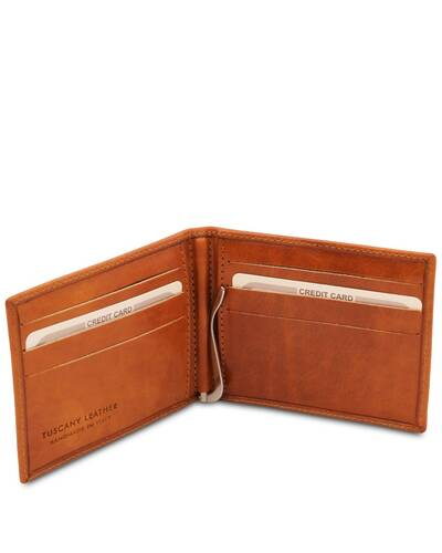 Tuscany Leather Exclusive leather card holder with money clip Honey - TL142055/3