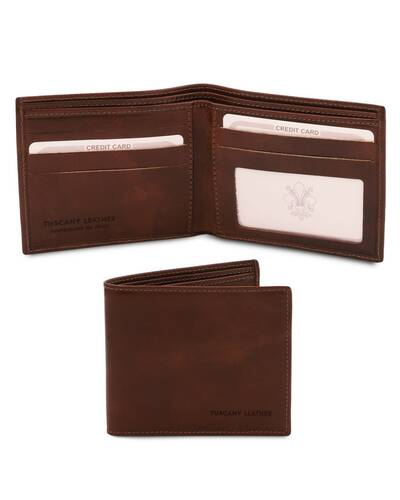 Tuscany Leather Exclusive 2 fold leather wallet for men Dark Brown - TL142056/5
