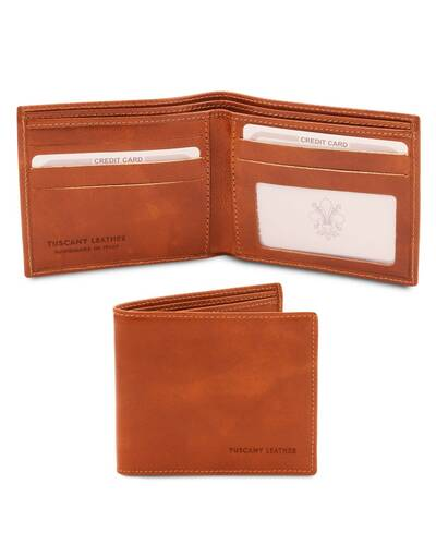 Tuscany Leather Exclusive 2 fold leather wallet for men Honey - TL142056/3