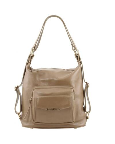 Tuscany Leather TL Bag - Borsa donna in pelle convertibile a zaino Talpa Chiaro - TL141535/96