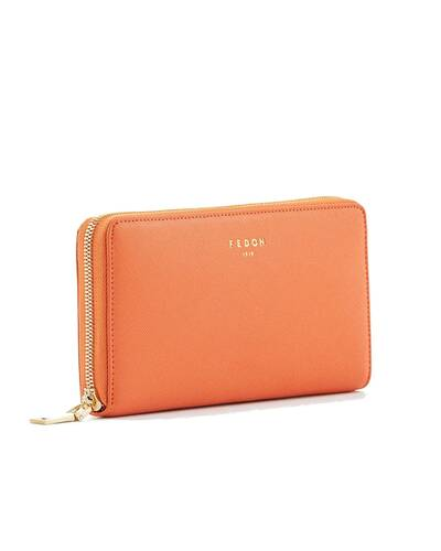 Fedon 1919 - Emily - Large 2 compartment wallet with zip, Orange - WS1910074/AR