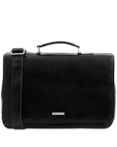 Tuscany Leather Mantova - Leather multi compartment TL SMART briefcase with flap Black - TL142068/2