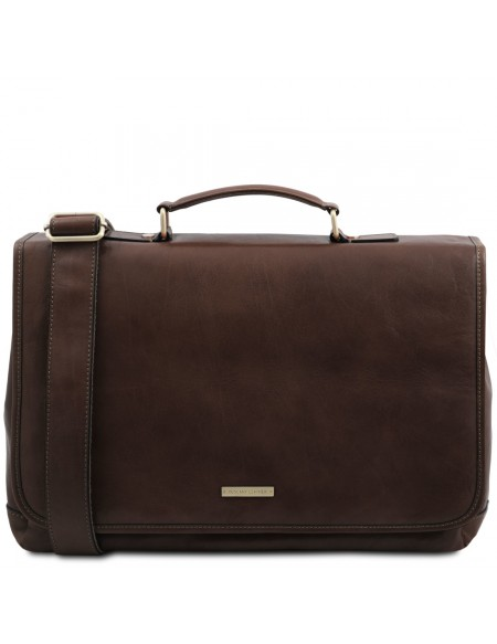 Tuscany Leather Mantova - Leather multi compartment TL SMART briefcase with flap Dark Brown - TL142068/5
