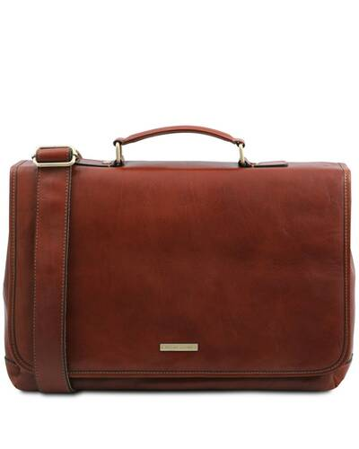 Tuscany Leather Mantova - Cartella TL SMART multiscomparto in pelle con pattella Marrone - TL142068/1
