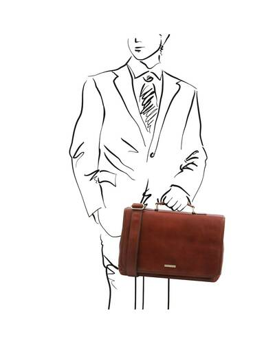 Tuscany Leather Mantova - Leather multi compartment TL SMART briefcase with flap Brown - TL142068/1