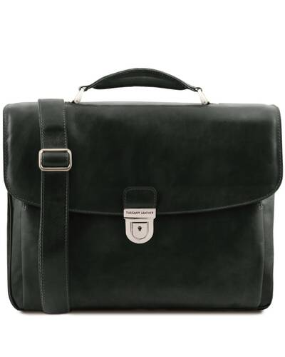 Tuscany Leather Alessandria - Leather multi compartment TL SMART laptop briefcase Black - TL142067/2