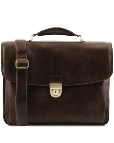 Tuscany Leather Alessandria - Leather multi compartment TL SMART laptop briefcase Dark Brown - TL142067/5