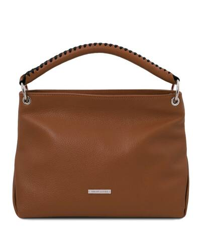 Tuscany Leather TL Bag - Borsa a mano in pelle morbida Cognac - TL142087/6