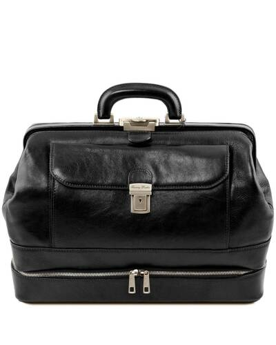 Tuscany Leather Giotto - Exclusive double-bottom leather doctor bag Black - TL142071/2