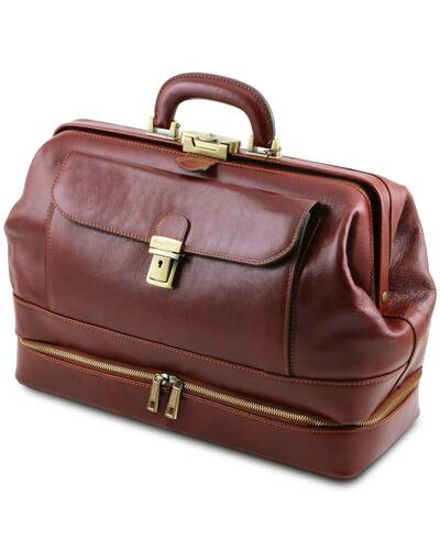 Tuscany Leather Giotto - Exclusive double-bottom leather doctor bag Dark Brown - TL142071/5
