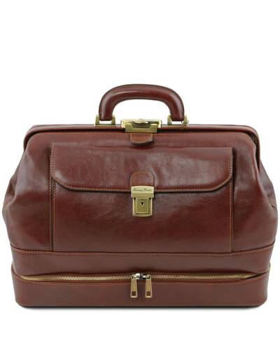 Tuscany Leather Giotto - Exclusive double-bottom leather doctor bag Brown - TL142071/1